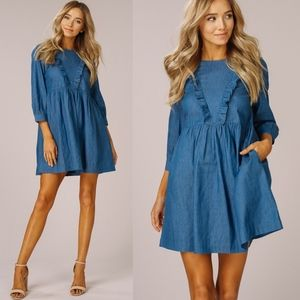 VANDA Ruffle Chambray Dress